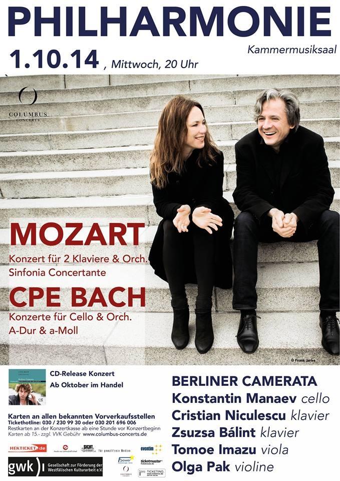 Philharmonie Kammermusiksaal Cristian Niculescu und Zsuzsa Bálint